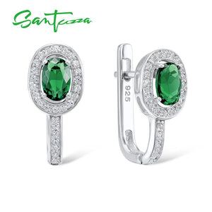 SANTUZZA Silver Earrings For Women 925 Sterling Silver Oval Green Crystal White Cubic Zirconia Stud Earrings Fashion Jewelry