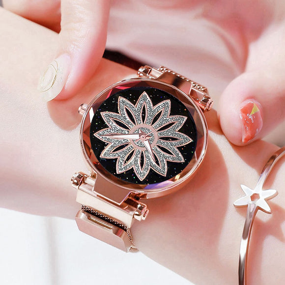 Women Flower Rhinestone Wrist Watch Ladies Starry Sky Watches Luxury Rose Gold Steel Quartz Watch Relogio Feminino Magnet Clock