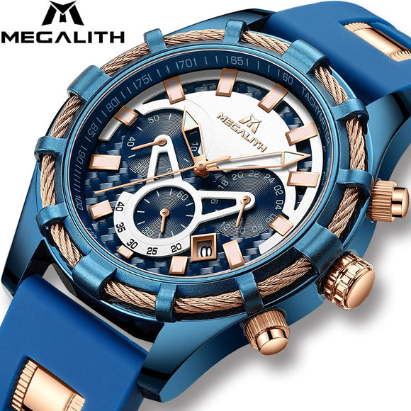 MEGALITH Men Watches Top Brand Luxury Luminous Display Waterproof Watches Sport Chronograph Quartz Wrist Watch Relogio Masculino