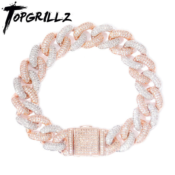 TOPGRILLZ Newest Lock Clasp 14mm Hip Hop Iced Out Bling CZ Men Bracelet 7 8 9 Inch Miami Cuban Link Bracelets Hiphop Jewelry