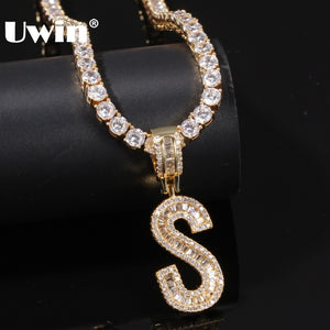 UWIN English Initials Baguette Letters Necklace Pendant With 4mm Cubic Zirconia Tennis Chains Fashion Hiphop Men Women Jewelry