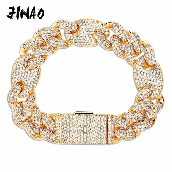 JINAO NEW 16mm Miami Lock Clasp Cuban Link 7-9 Inch  Bracelet Iced Out AAA Cubic Zircon Bling Hip hop Men Jewelry Gift