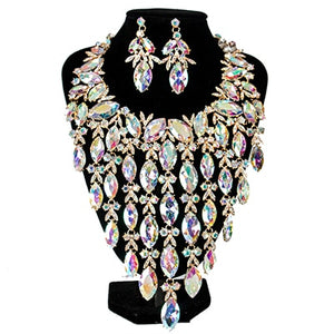 Lan palace luxury big crystal bridal jewelry set six colors necklace and earrings  for wo'men free shipping