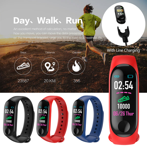 Running Pedometer M3 Plus Blood Pressure Monitor Heart Rate Fitness Tracker Smart Bracelet Step Counter Waterproof Pedometers