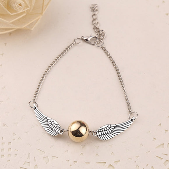 Golden Snitch Pocket Bracelet Quidditch Ball Silver Wings Vintage SteamPunk Fashion Movie Jewelry Women Wholesale James Potter