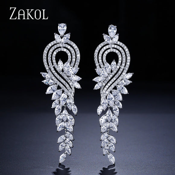 ZAKOL Luxury Jewelry Valentine's Day Gifts White Color Flower Big Dangle Drop Earrings with Marquise Shape Zircon Stone FSEP344