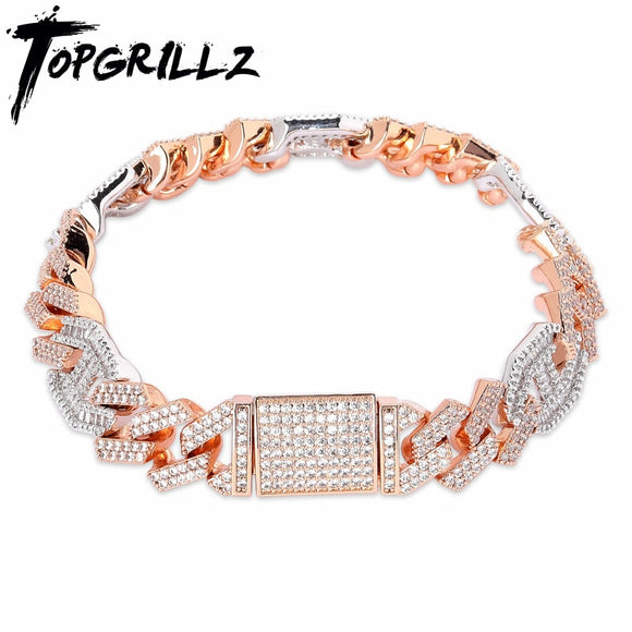 TOPGRILLZ Newest Micro paved Baguette Zircon Cuban Bracelet Iced Out Bling Hip hop Jewelry Gold Silver AAA CZ Cuban Chain 14mm