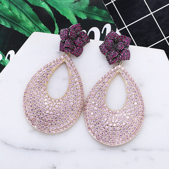 Luxury Flower Design Cubic Zirconia Earrings Women Fashion Wedding Banquet Drop Earrings New Hot Sale XIUMEIYIZU 925 Jewelry