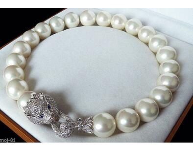 Huge 20mm Genuine White South Sea Shell imitation Pearl Necklace AAA Crystal Clasp 18