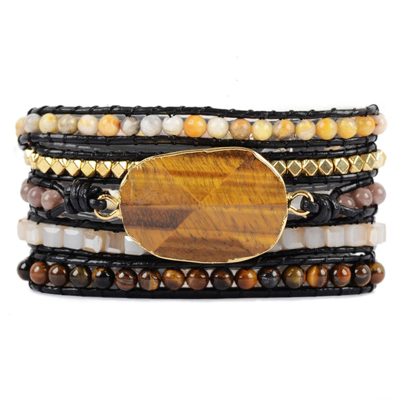 Tiger Eye 5 Strands Wrap Bracelets Handmade Bohemian Gems Stone Leather Bracelet For Men Vintage braid Bracelet Dropshipping