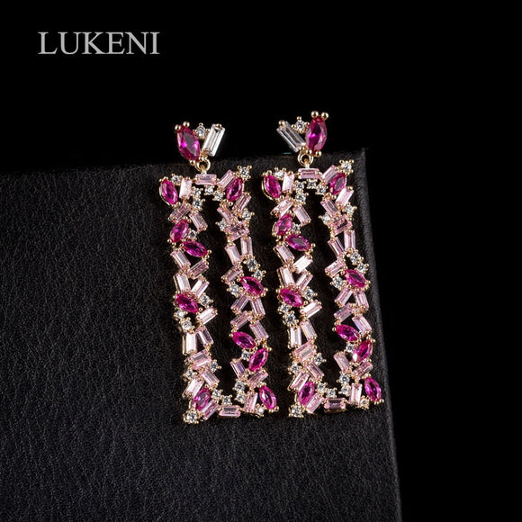 LUKENI Brand White /Pink Color Cubic Zircon Personality Rectangular Geometric Earrings For Design Bridal Wedding