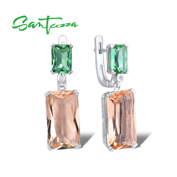 SANTUZZA Silver Earrings For Women 925 Sterling Silver Shiny Green Champagne Crystal Dangling Earrings серьги Fashion Jewelry