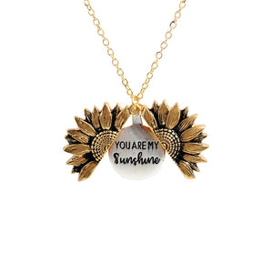 Fashion Bohemia Sunflower Double-layer Metal Pendant Necklace For Women Round Open Long Chain Necklace Party Wedding Jewelry