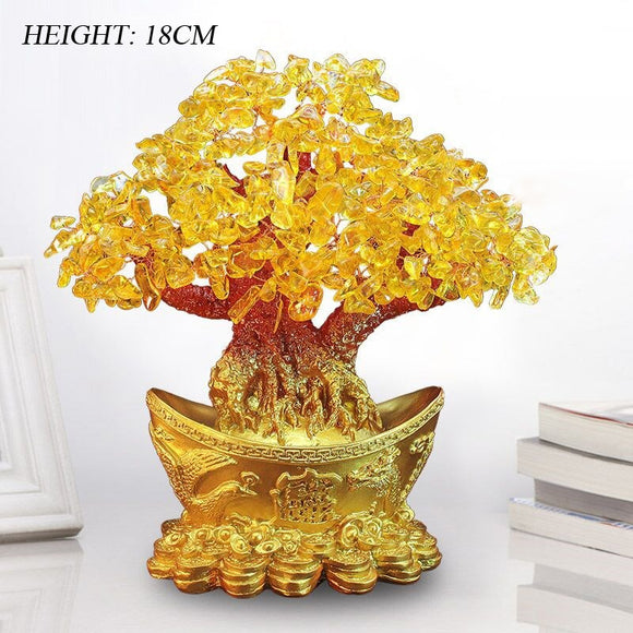 Lucky Money Tree Chinese Gold Ingot Crystal Fortune Tree Ornament