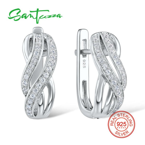 SANTUZZA Silver Earrings For Women Pure 925 Sterling Silver Stud Earrings Silver White CZ серьги женские brincos Fashion Jewelry