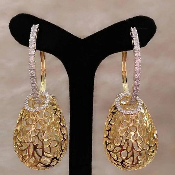 GODKI Luxury Hollow Drops Dangle Earrings Trendy Cubic Zircon Wedding Engagement Party Indian gold earrings for women 2019
