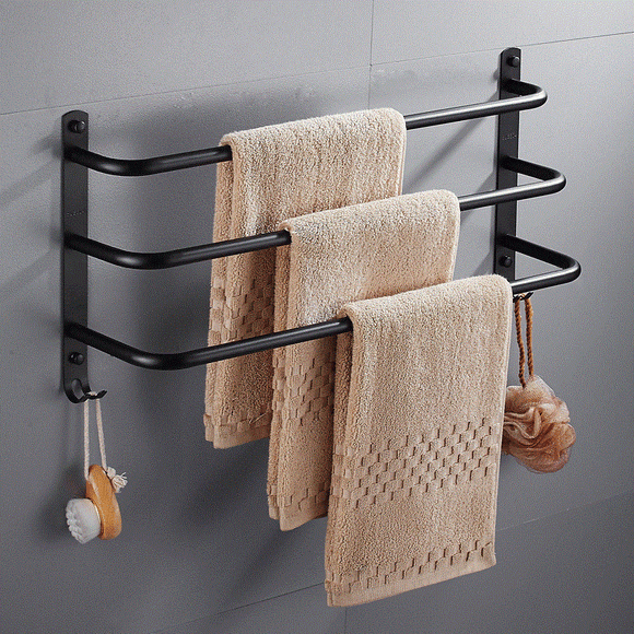 Creative Black Paint Towel Rack Toilet Three-layer Towel Bar 40/50/60cm Towel Rack Bathroom Hardware Kit Cardinal Bathroom Towel