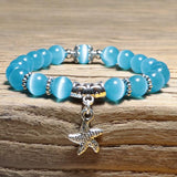 New Arrival Women Opal Bracelet Natural Stone Beautiful 5 Colors Smooth Charm Braslet Cute Starfish Pendant Braclet Jewelry Gift