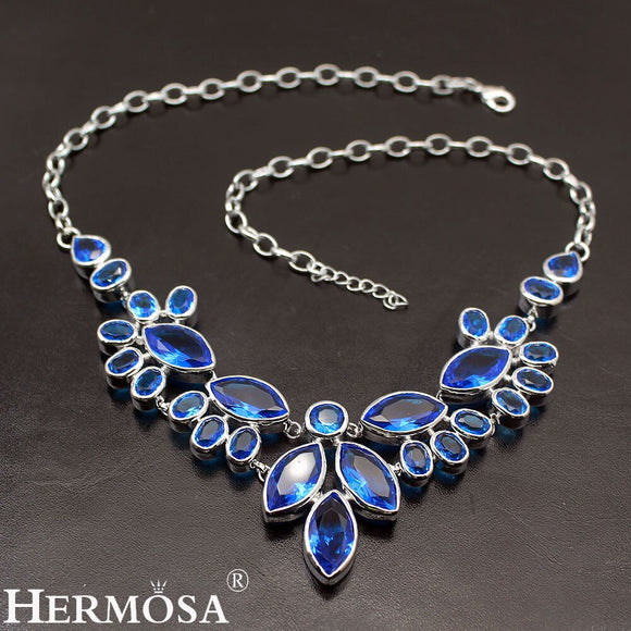 Hermosa Prom Dresses Ocean Blue Topaz925 Sterling Silver Women Nice Jewelry Charms Necklaces 20 Inch Free Shipping