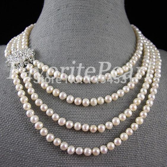 Pearl Necklace - 16-22 Inches 6-7mm 4 Strand White Color Natural Freshwater Pearl Necklace Bridesmaid Jewelry Wedding Gift