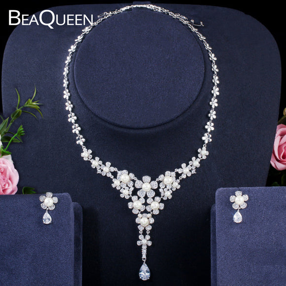BeaQueen Luxury Flower Cluster Pearl Bridal Wedding Jewelry Set Cubic Zirconia Long Pendant Necklace and Earrings Sets JS211