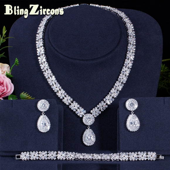 BeaQueen Brilliant Cubic Zircon Big Drop Earrings Necklace Bracelet Jewelry Sets Dubai Wedding Dress Accessories  JS161