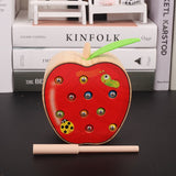 3D Montessori Wooden Toys Caterpillar Eats The Apple Kids Catch Worms Matching Pair Games Early Educational Interactive Math Toy