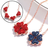 Fashion Women Girls Alloy Necklace Creative Red Blue Double Sided Four Heart Clover Pendant Lucky Grass Clavicle Chain Necklaces