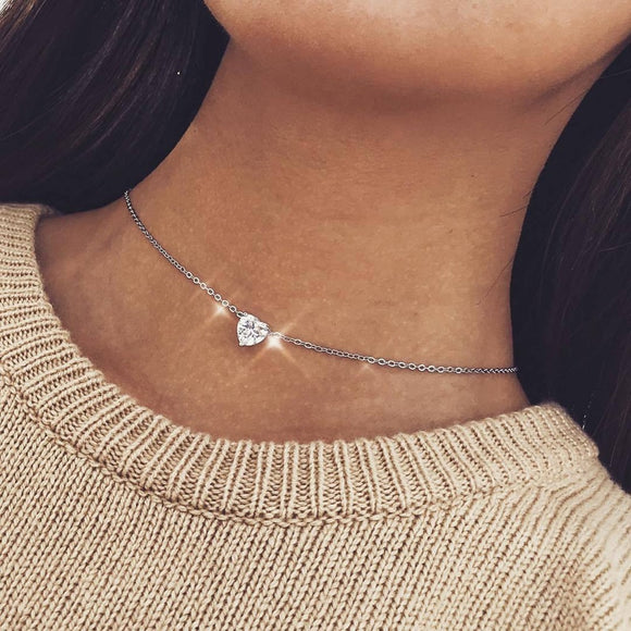 2019 New Female Fashion Crystal Heart Necklace Pendant  Short Gold Chain Necklace Pendant Necklace Charm Gifts girlfriends