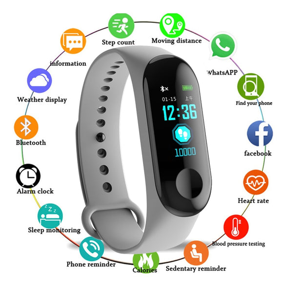 M3 Smart Bracelet Heart Rate Monitor With Vibration Reminder Fitness Tracker Bluetooth Smart Wearable Device Clock Men's Watch