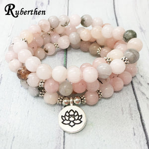 Ruberthen New 108 Mala Bracelet For Women High Quality Natural Stone Lotus Charm Yoga Bracelet Healing the Heart Chakra Jewelry