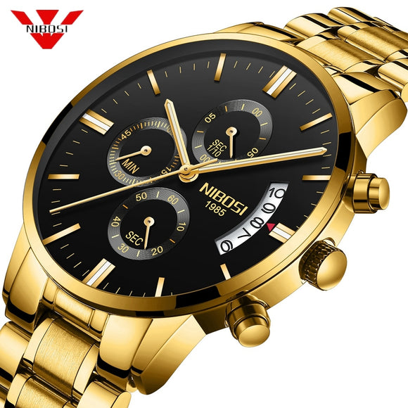 NIBOSI Golden Watch Dropshipping Luxury Brand Men's Watches Stainless Steel Chronograph Auto Date Business Quartz Wristwatch