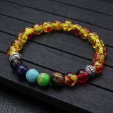 Lgbt 7 Chakra Stone Bead Bracelet Bangle for Women Men Peach Heart Charm Rainbow Healing Reiki Prayer Buddha Jewelry Gift Couple