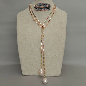 "50"" Cultured Pink Keshi Pearl Mixed Color Rectangle Cz Pave Long Chain Necklace"
