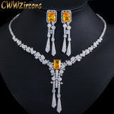 CWWZircons Luxury Yellow CZ Stone Dangle Drop Long Tassel Wedding Earrings Necklace Big Dubai Bridal Dress Jewelry Sets T375