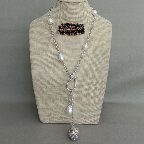 22'' Cultured White Rice Pearl CZ chain Necklace Keshi Pearl Cz Teardrop Pendant