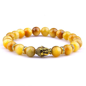 Fashion AAA Royal Blue Tiger Eye Men's Bracelet Beads Natural Stone Buddha Stretch Charm Bracelets for Women Men Jewelry 2019
