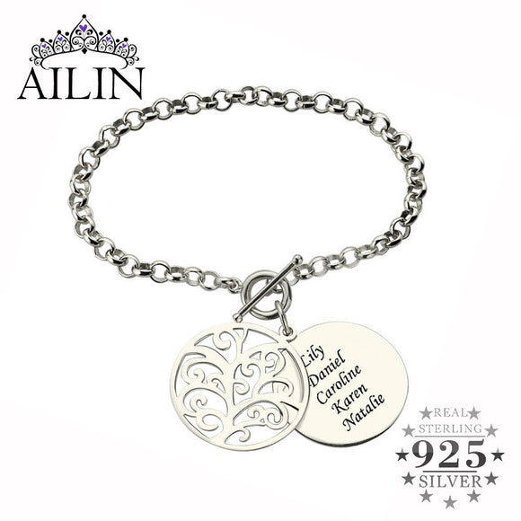 Wholesale Engraved Family Tree Bracelet in Silver Disc Name Bracelet Tree of Life Jewelry Mother's Day Gift