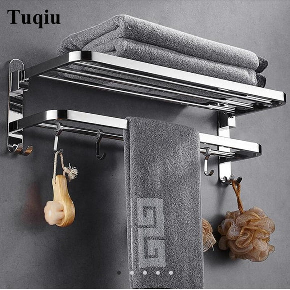 Nail or nail free Towel Racks Bathroom chrome Finish foldable Bath Towel Shelves Towel Bar Bath Hardware double level with hooks