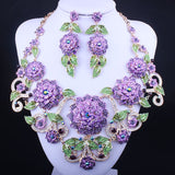 Luxurous Indian Bridal Jewerlry Sets Big Flowers Drop Earrings Statement Necklace Set Wedding Party Costume Jewellery for Women