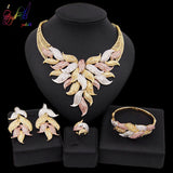 Yulaili 2019 New Luxury Nigeria Wedding Bridal Dubai Jewelry Sets Tricolor Big Leaf Crystal Pendant Necklace Earrings Parure