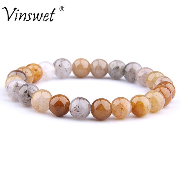 Natural Stone Bracelet Beads Jades Couple Elastic Strand Bracelets for Women Men Fashion Yoga Jewelry Pulseras Hombres