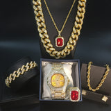 Luxury Men's Golden Watch Hip Hop Men Necklace Watch + Necklace + Bracelet + Ring Combo set Ice Out Cuban Golden Jewelry Set
