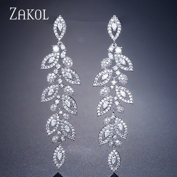 ZAKOL Fashion Korean CZ Leaf Wedding Jewelry Marquise AAA Cubic Zirconia Long Drop Bridal Earrings For Elegant Women FSEP2144