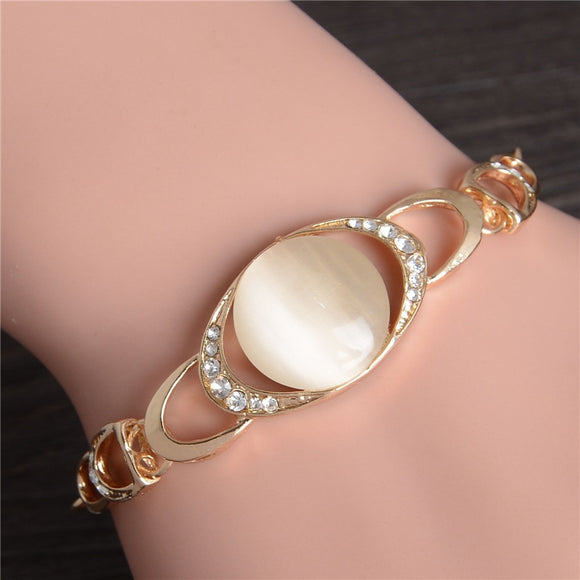 Fashion Opal Stone Charm Bracelet For Women Girl Bracelet & Bangle Adjustable Pulseras Mujer Wedding Bridal Jewelry Gift