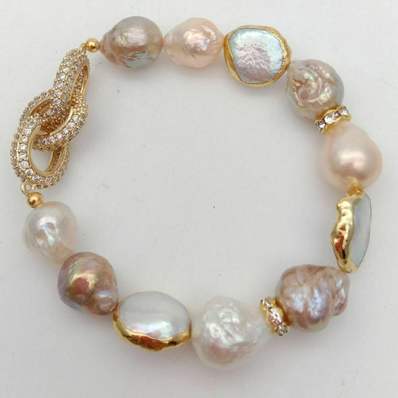 Cultured Keshi Pearl White Coin Pearl Stretch Bracelet