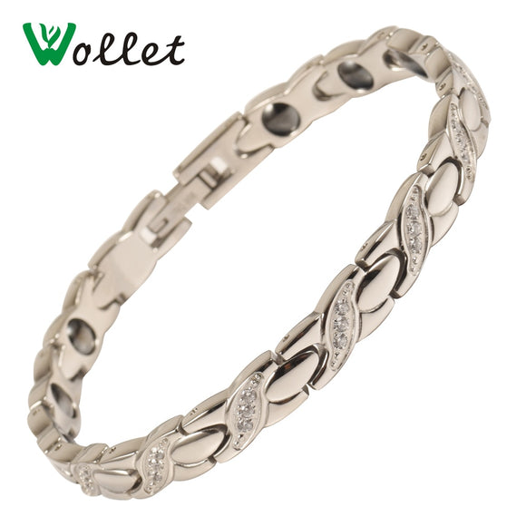 Wollet Jewelry Stainless Steel Bracelet For Women CZ Stone Metallic Color Germanium Hematite Negative IonHealth Healing Energy
