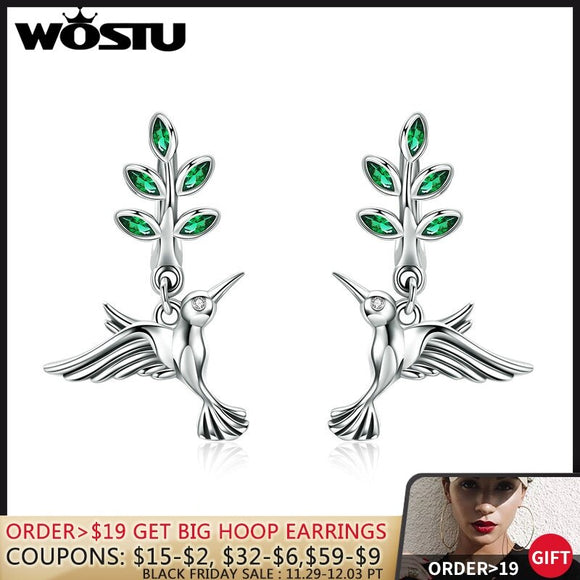 WOSTU 100% Real 925 Sterling Silver Green Leaves & Birds Stud Earrings for Women Birthday Forest Style Fresh Jewelry Gift CQE464