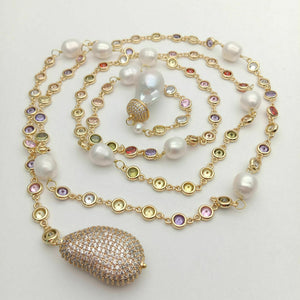 "49"" White Keshi Pearl multi color Cz Pave Chain Long Necklace"