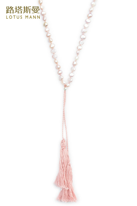 PINK PEARL TASSEL NECKLACE